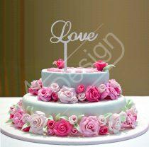 Esküvői tortadísz - Love felirat V5