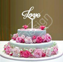 Esküvői tortadísz - Love felirat V6