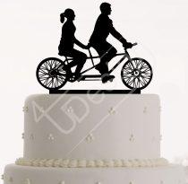TD6100301 - Sziluett esküvői tortadísz tandem kerékpáros