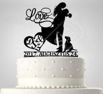 TD7011701 - Love sziluett esküvői tortadísz monogrammal és dátummal