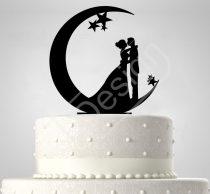 TD7011704 - Hold és csillagok sziluett esküvői tortadísz