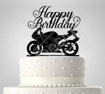 Motoros sziluett születésnapi tortadísz