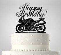 RK-Motoros sziluett születésnapi tortadísz
