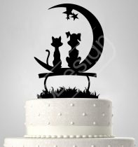 TD7011715 - Kutya-macska padon holddal sziluett esküvői tortadísz