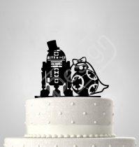 TD7011716 - R2D2 és BB8 Star Wars sziluett esküvői tortadísz