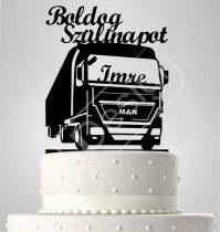 Kamionos sziluett születésnapi tortadísz