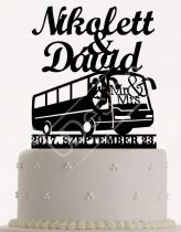 TD7071201 - Buszos sziluett esküvői tortadísz nevekkel és dátummal