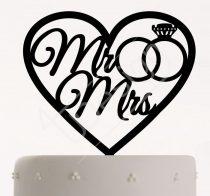 TD8011704 - Szíves Mr & Mrs gyűrűvel sziluett esküvői tortadísz