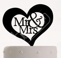 TD8011705 - Szíves Mr & Mrs sziluett esküvői tortadísz
