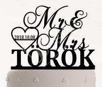 TD80524151 - Mr & Mrs sziluett tortadísz vezeték névvel