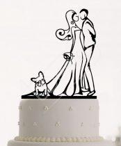 TD78071235 - Kutyával sziluett esküvői tortadísz