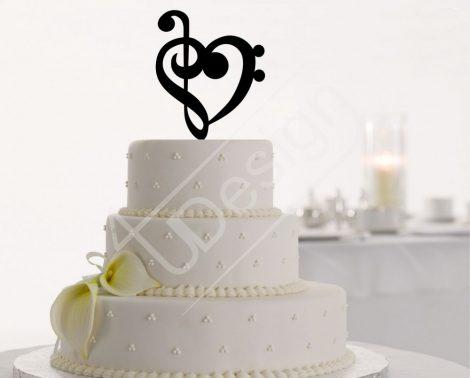 Violinkulcsos szív sziluett tortadísz