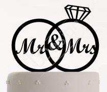 TD8072601 - Gyűrűs Mr & Mrs sziluett tortadísz