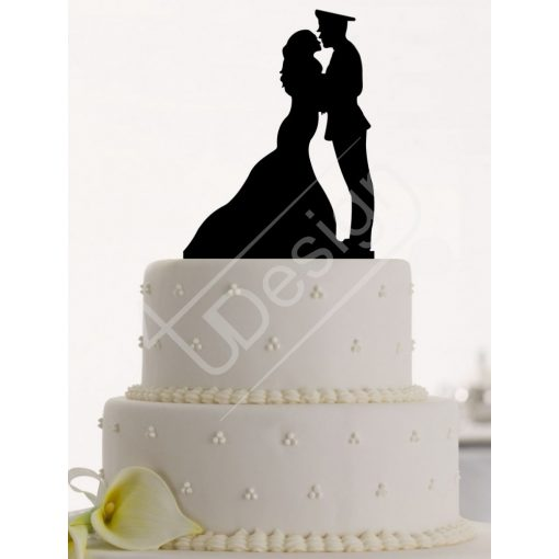 TD8072701 - Mr & Mrs egyenruhás egyedi sziluett esküvői tortadísz  X-H6