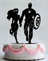 TD8080310 - Amerika kapitány és Wonder Woman sziluett esküvői tortadísz