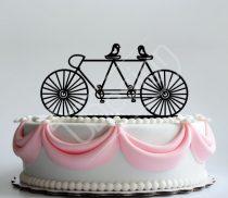 TD8080312 - Biciklis gerlepár sziluett esküvői tortadísz