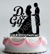 TD8080313 - Sziluett esküvői tortadísz pár monogrammal, dátummal