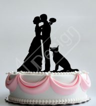 TD8080314 - Sziluett esküvői tortadísz pár kutyával