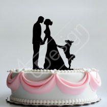 TD8080320 - Pár kutyával - sziluett esküvői tortadísz