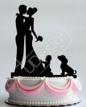 TD8080326 - Pár babával és kutyával -  sziluett esküvői tortadísz