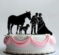 TD8080329 - Pár lóval és kutyával -  sziluett esküvői tortadísz