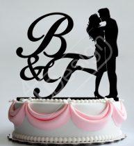 TD8080331 - Monogramos pár -  sziluett esküvői tortadísz