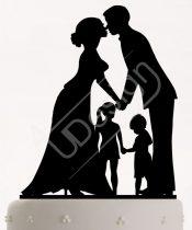 TD8080513 - Házaspár kislánnyal és kisfiúval, sziluett esküvői tortadísz