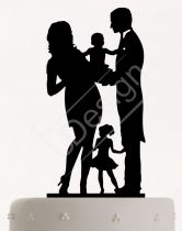 TD8080514 - Pár kislánnyal és kisfiúval, sziluett esküvői tortadísz